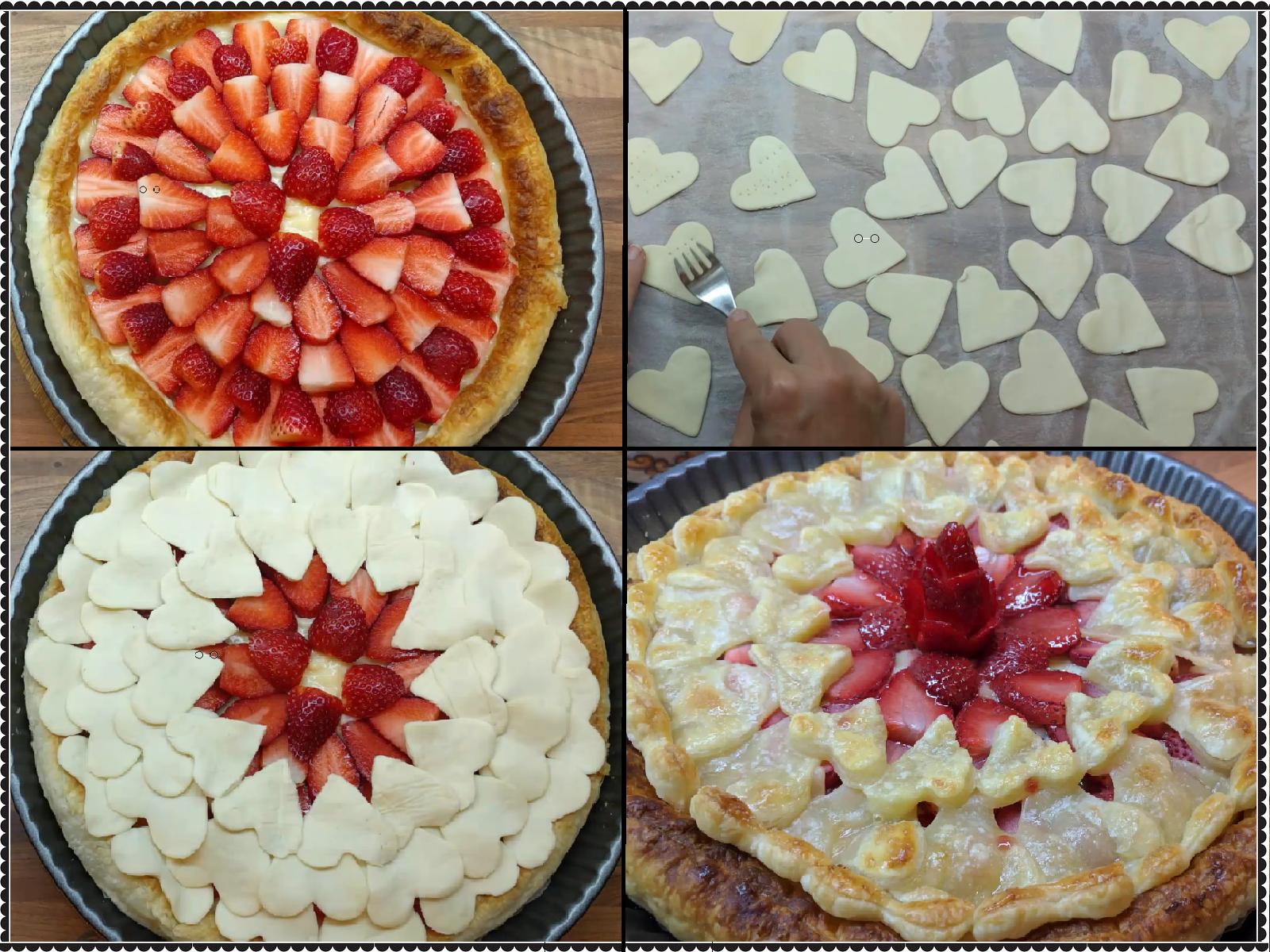 Tarta de fresa y crema pastelera, con corazones de hojaldre – El ...