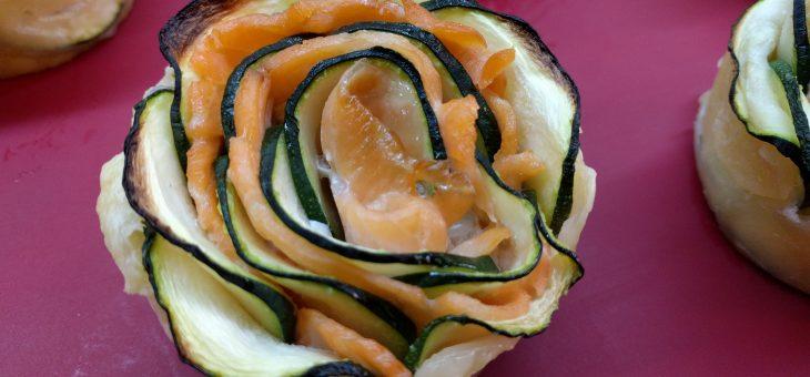 Rosas de salmón y calabacín